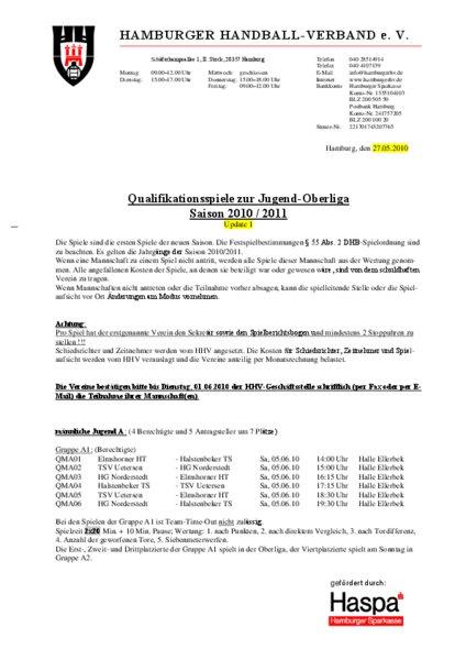 Hamburger Handballverband Spielpläne