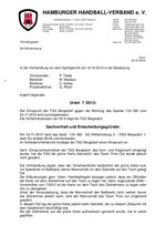 Urteil 07/2013 - Einspruch TSG Bergedorf
