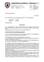 Urteil 07/2016 - Aumühle - Verstoß gegen § 77 (1) SpO DHB