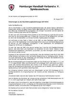 Anschreiben des Vizepräsidenten Spieltechnik zu den Durchführungsbestimmungen 2017/18