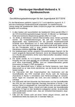 Jugend-Pokal 2017/18 - Durchführungsbestimmungen