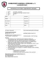 Anmeldeformular Kinder/Jugend-Lehrgang