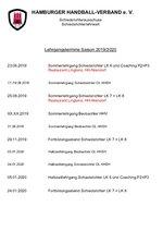 Lehrgangstermine Sommer 2019/2020