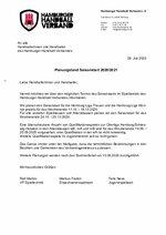 HHV-Planung Saisonstart 2020/21