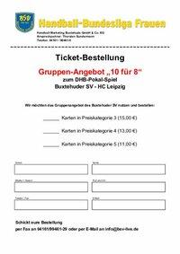 Ticket-Bestellfax DHB-Pokal Buxtehuder SV – HC Leipzig am 1. Oktober 2016