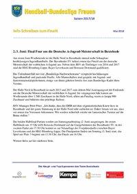 Final4 wA-Jugend in Buxtehude - Infoschreiben