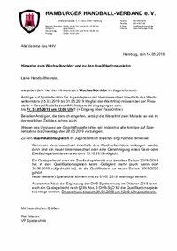 Anschreiben Wechselkorridor Qualispiele 2019