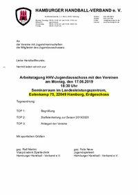 Einladung JA/Vereine 2019/20
