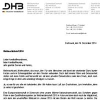 Weihnachtsbrief DHB-Präsident 2014